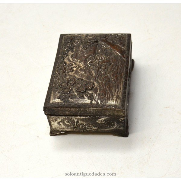 Antique Metal box decorated with rural landscape