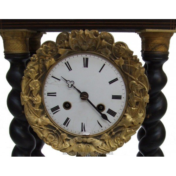 Antique Clock French Empire style portico