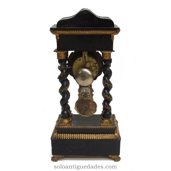 Antique French portico clock with inlaid polychrome