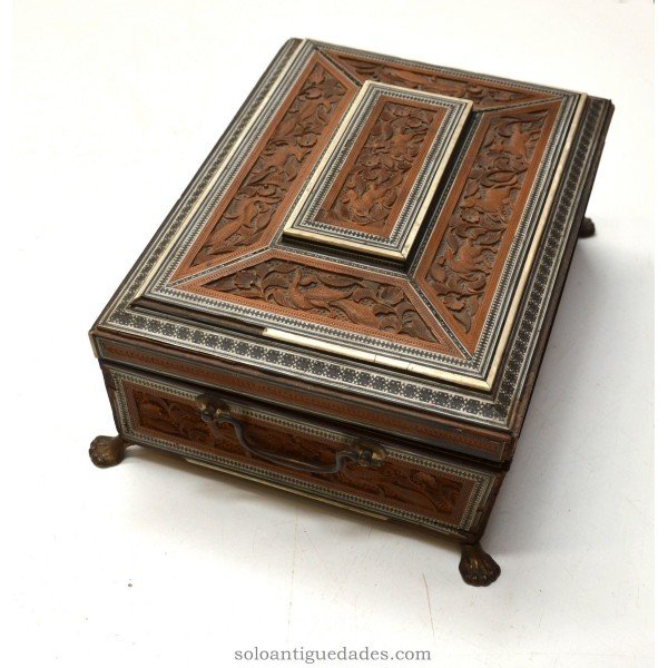 Antique Antigua collection box carved wood and metal