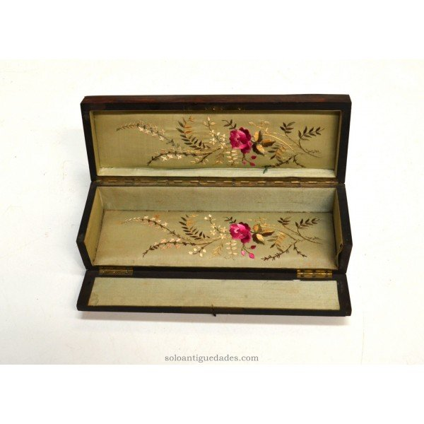 Antique Veneered box with flowers inside