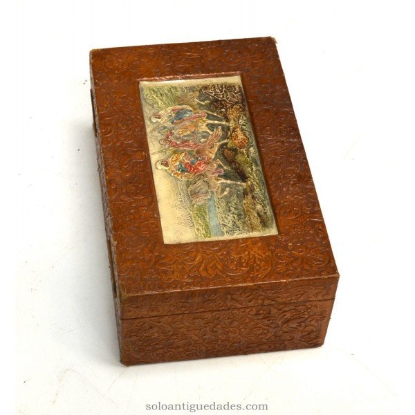 Antique Wooden collection box carved with riders