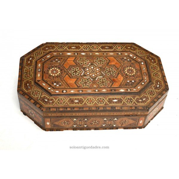 Antique Neomudejar collection box is octagonal