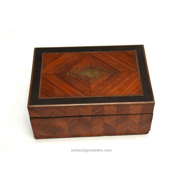 Antique Old jewelry box decorated with marquetry Bull