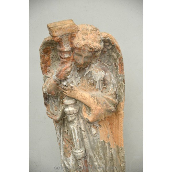 Antique Polychrome terracotta Angel