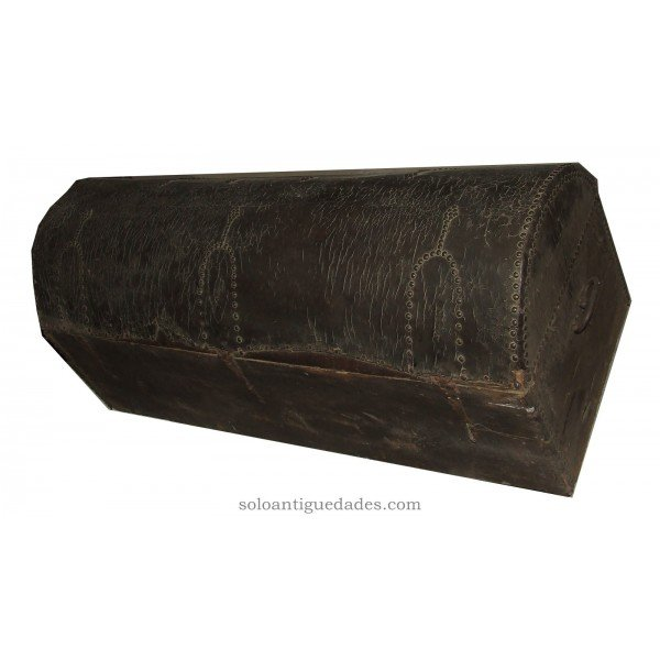 Antique Wooden chest lined leather