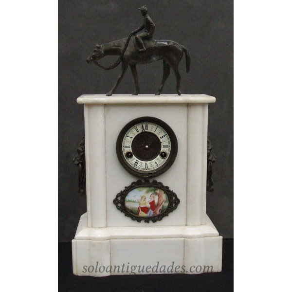 Neoclassical style clock with equestrian figure