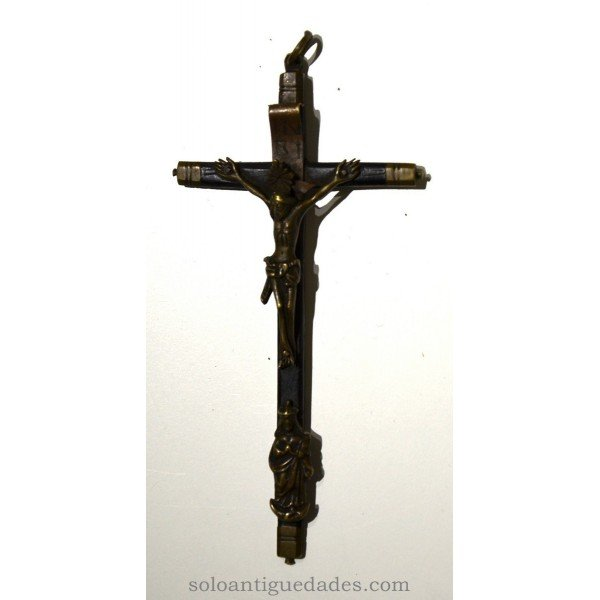 Wooden crucifix and silver-gilt ebonised