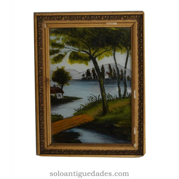 Antique Painting on glass landscape representing