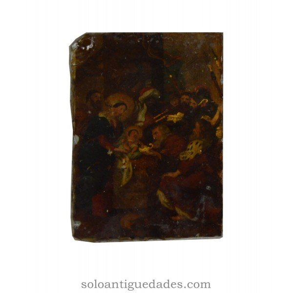 Antique Painting on glass baroque aesthetic