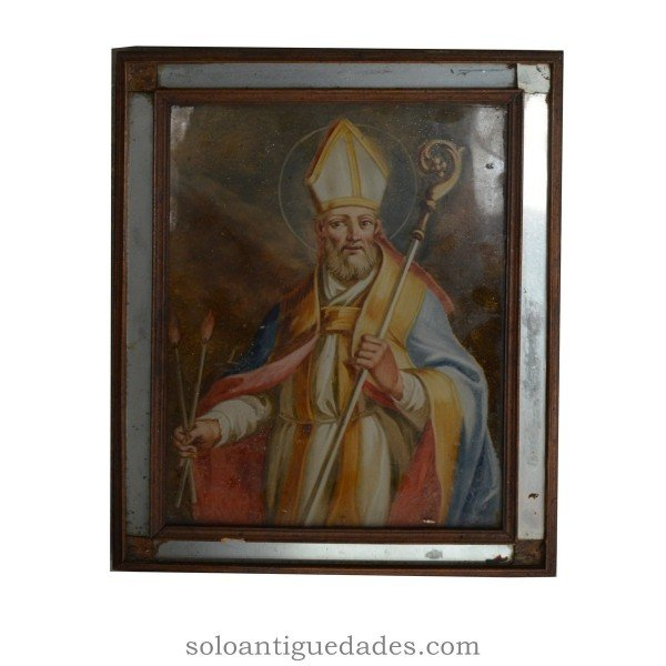 Painting on glass, representing a bishop.