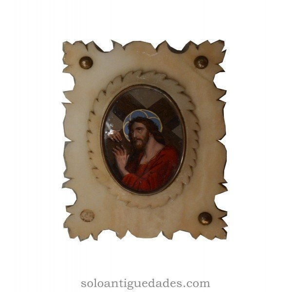 Antique Painting under glass representing Christ