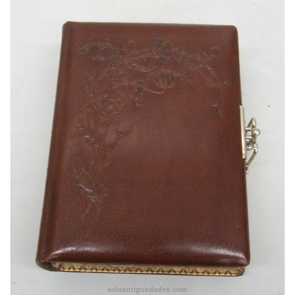 Antique Leather photo album decorated with plant