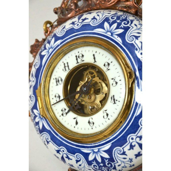 Antique Hanging wall clock. Handpainted Porcelain