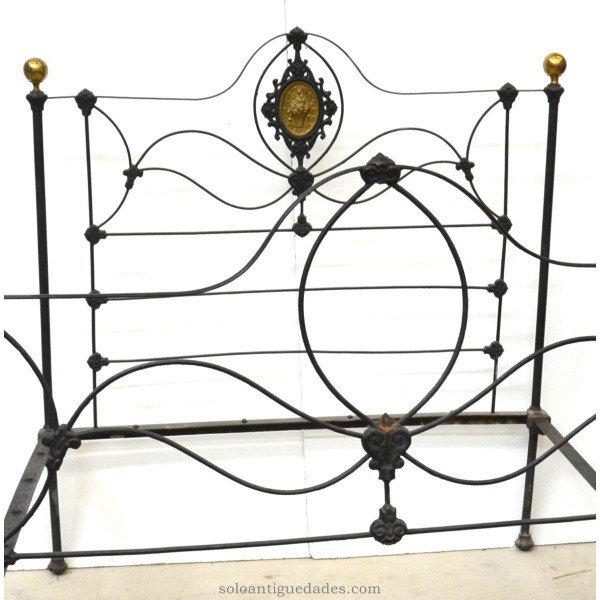 Antique Bed with headboard and footboard in wrought iron