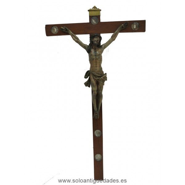 Wooden crucifix with lipsanotecas