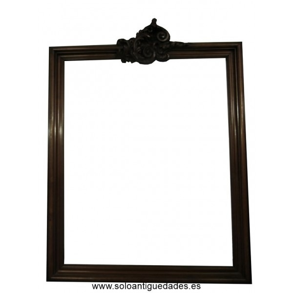 Wooden frame with foliate scrolls crowning