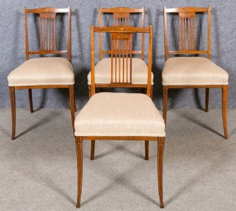 Antique Set of 4 Inlaid Dining Chairs