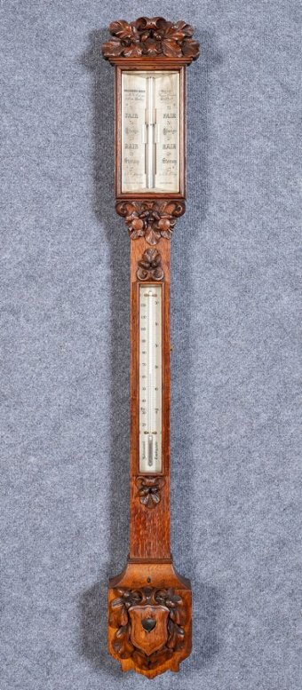 Victorian Carved Oak Stick Barometer