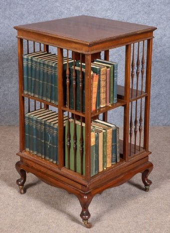 Antique Edwardian Inlaid Revolving Bookcase