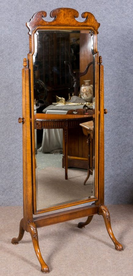 Waring & Gillows Walnut Cheval Mirror