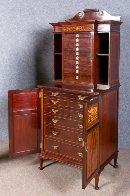 Antique Superb Shapland and Petter Collectors Cabinet