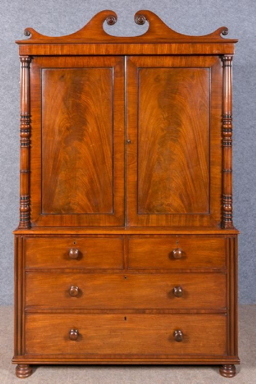 Antique Regency Mahogany Linen Press