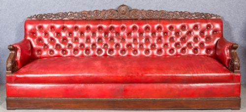Very Large Mahogany and Leather Club Sofa Settee
