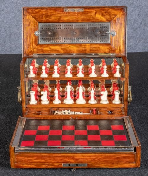 Antique Victorian Games Compendium Box
