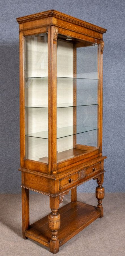 Good Quality Jacobean Style Oak Display Cabinet
