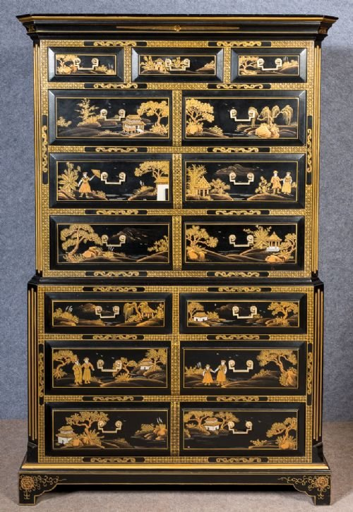 18th.C. Style Chinoiserie Chest on Chest