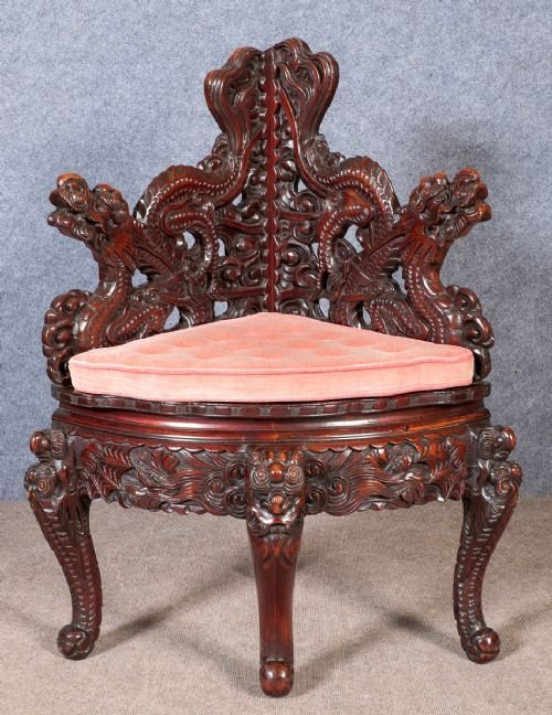 Unusual Oriental Corner Chair