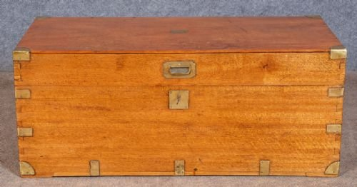 Antique Antique Camphor Wood Campaign Trunk