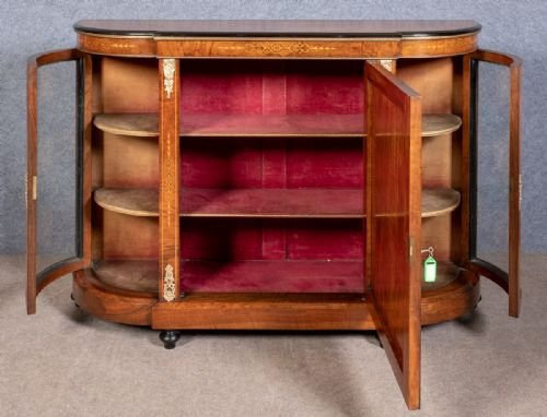 Antique Victorian Walnut Credenza Side Cabinet