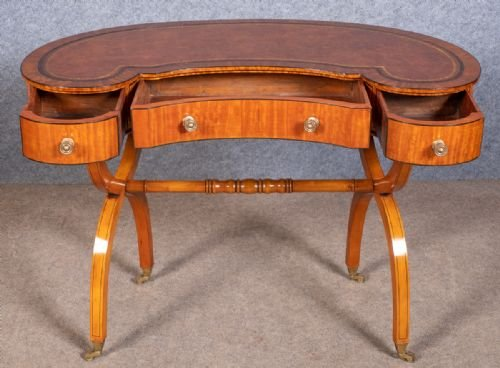 Antique Edwardian Satinwood Writing Table Desk