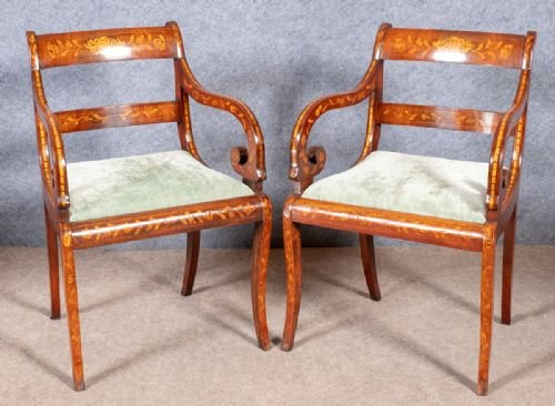 Pair of Dutch Marquetry Elbow Chairs