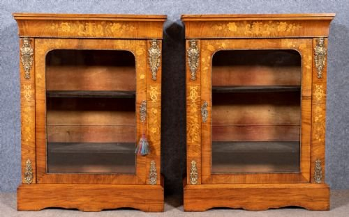Good Pair of Victorian Walnut Pier Display Cabinets