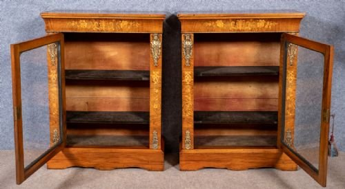 Antique Good Pair of Victorian Walnut Pier Display Cabinets