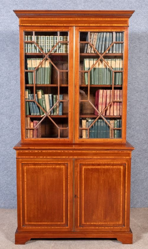 Good Quality Edwardian Inlaid Bookcase