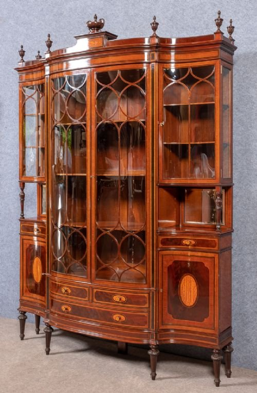 Antique Fine Sheraton Revival Display Cabinet