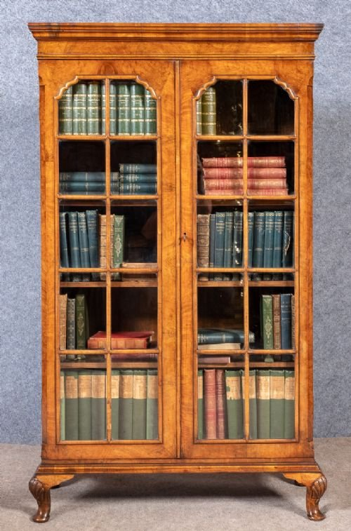 Good Quality Queen Anne Style Walnut Bookcase