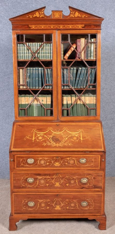 Good Sheraton Revival Inlaid Bureau Bookcase