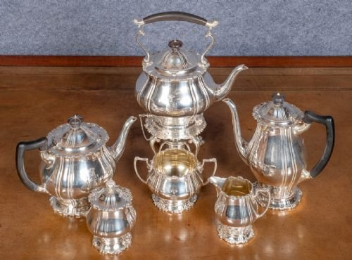 Antique 6 Piece Solid Silver Tea Set