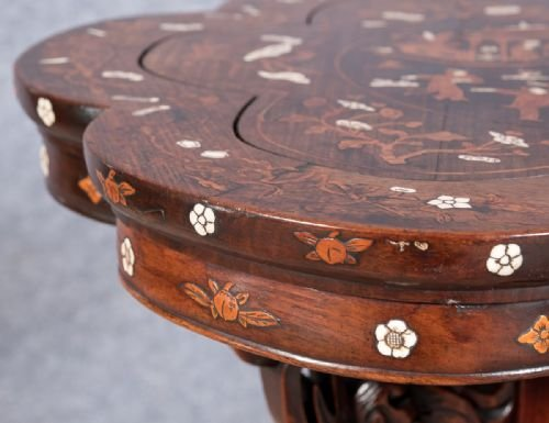 Antique Good Chinese Hardwood and Inlaid Table