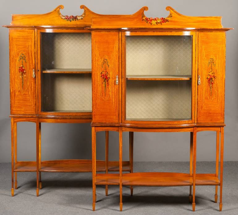 A pair of Satinwood display cabinets