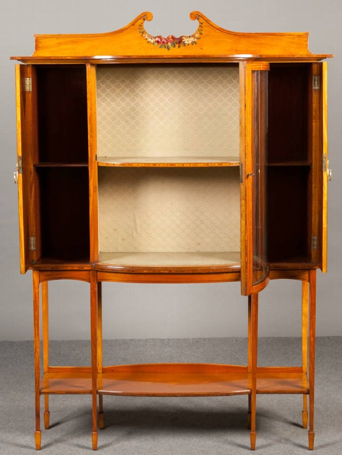 Antique A pair of Satinwood display cabinets