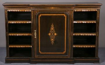Ebonised Victorian bookcase