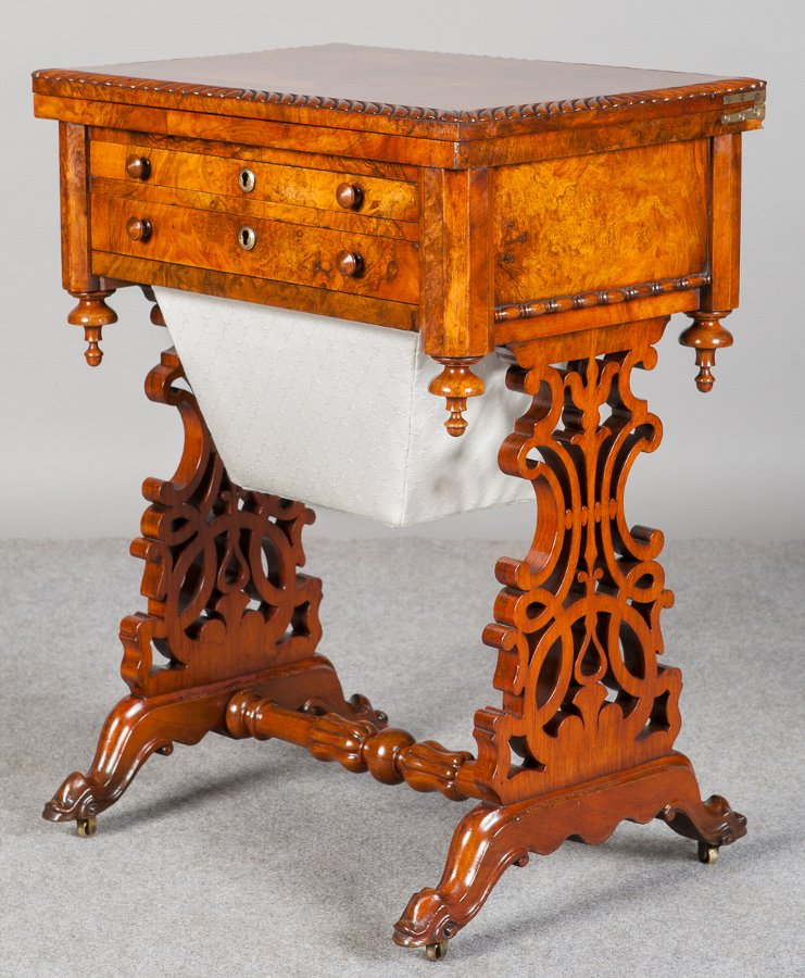 Superb Victorian Burr Walnut Ladies Work Table
