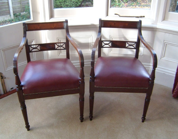 Antique Antique Pair Georgian Mahogany Open Armchairs