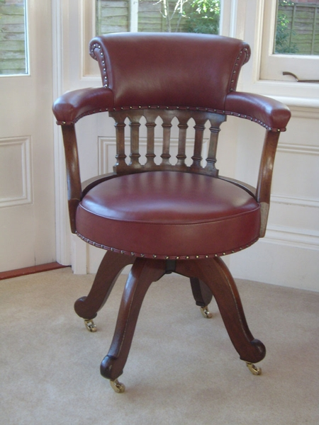 Antique Mahogany Swivel Seat Desk Chair Circa 1880